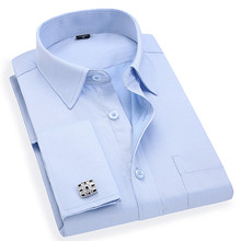 Men s French Cufflinks Business Dress Shirts Long Sleeves White Blue Twill Asian Size M, L, XL, XXL, 3XL, 4XL, 5XL, 6XL