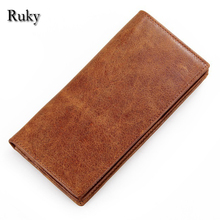 2016 Genuine Crazy Horse Cowhide Leather brand name Men Wallets Fashion Purse With Card Vintage Long Wallet Clutch Wrist Bag
