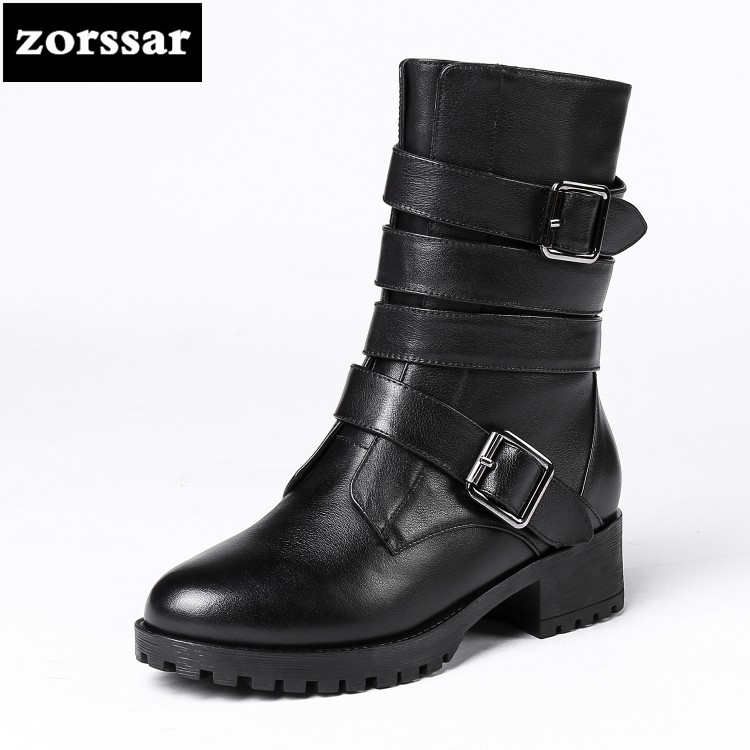 все цены на {Zorssar} Fashion Women Ankle Boots Soft Leather Med Heel Shoes Comfortable Women Motorcycle Boots Lace Up Winter Warm Shoes онлайн