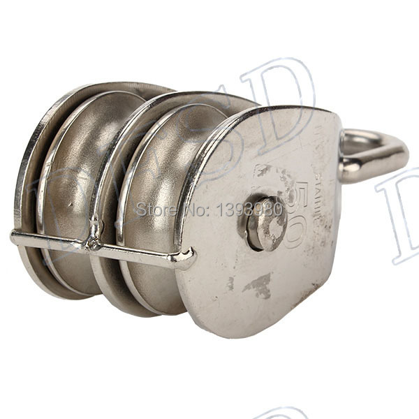 M50 Double Pulley Block for Wire Rope Cable Stainless Steel 304 50mm ...
