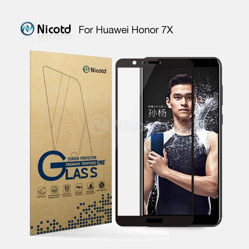 Galleria fotografica 2 Pz/lotto Nicotd 2.5D Piena Copertura In Vetro Temperato Per Huawei <font><b>Honor</b></font> <font><b>7x</b></font> Mobile Phone 5.93