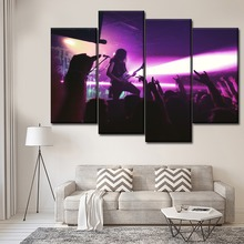 Canvas HD Print One Set 4 Panels Rock Concert Posters Modern Home Wall  Decorative Painting Combinatorial Modular Art Picture