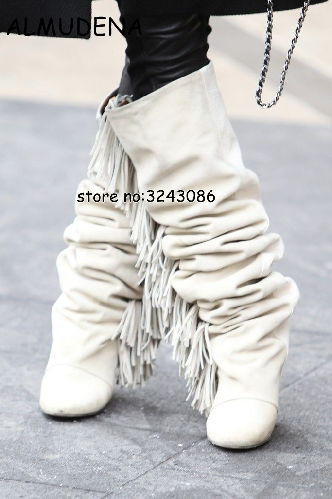 High Top Suede Black White Fringed Woman Knee High Boots Pointed Toe Hidden Wedge Lady Fashion Long Boots Height Increasing asymmetrical suede high waist fringed skirt