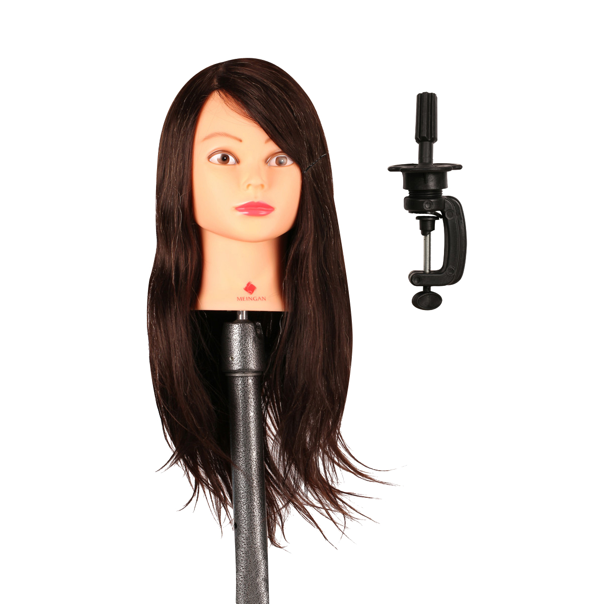 Professional Salon 40% Natural Animal Brown Wig Hair 22 Long Hairdressing Styling Training Mannequin Head with Clamp Stand Tool parrucca perruque dyz 516 lolita long dark brown anime cosplay hair wig natural hair wigs