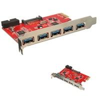 YOC-Card 5 Ports PCI-E USB 3.0 HUB 20 Pin 15Pin SATA Adapter Red