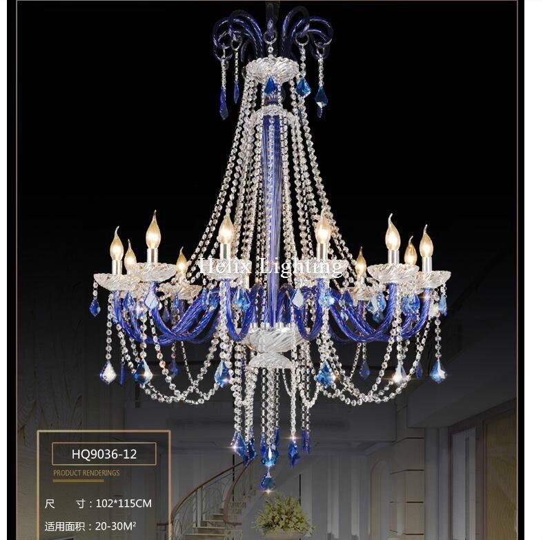 Doprava zdarma Lustr modrý křišťálový lustr lustres de cristal Dekorace Moderní čirý křišťál AC lustr domácí osvětlení