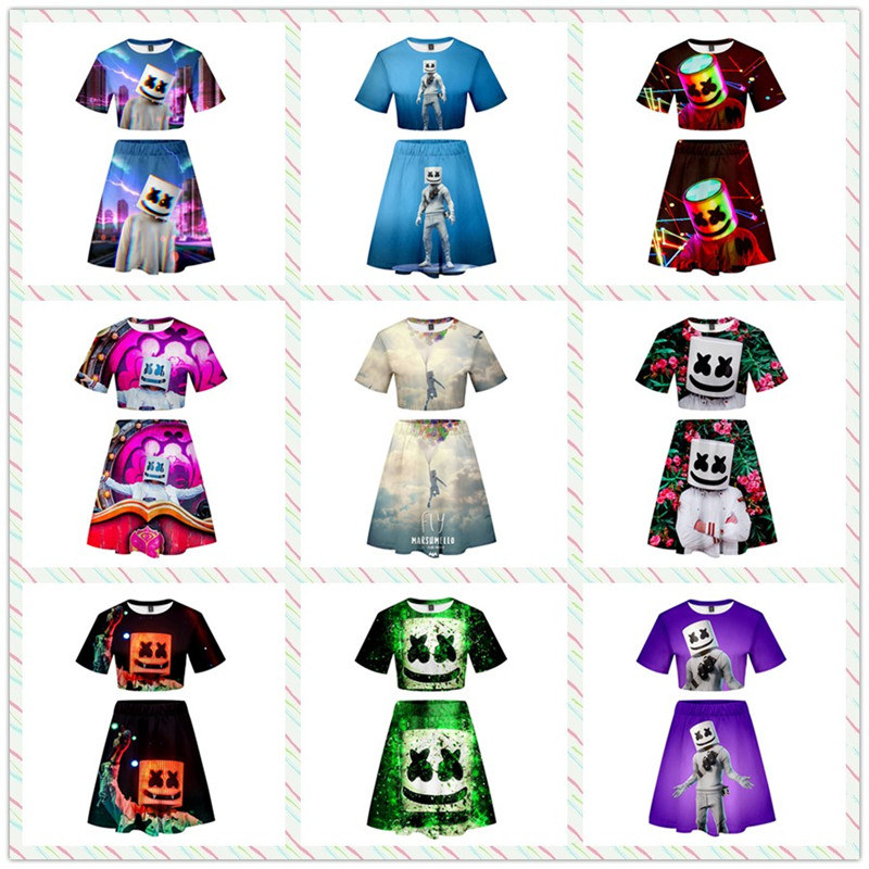 ZSQH DJ Marshmello Sexy T-Shirt Skirts Sexy showing belly button Cosplay Costume For Women&Girl Cute Marshmallow Skirts dresses