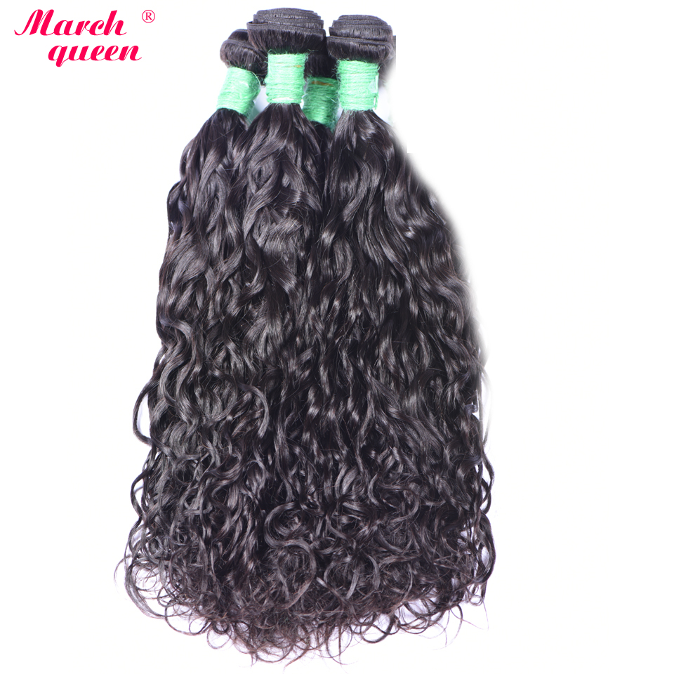 Human Hair Weaves Brave Water Wave Human Hair Extensions 1/4pcs Burmese Remy Hair Weave Bundles 10-28 Inchs Natural Black Color Weft Marchqueen As Effectively As A Fairy Does