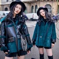 Зимний стиль Для женщин автомобильной меховые куртки уличной европейских и американских Стиль Для женщин байкер шубы верхняя одежда C2203