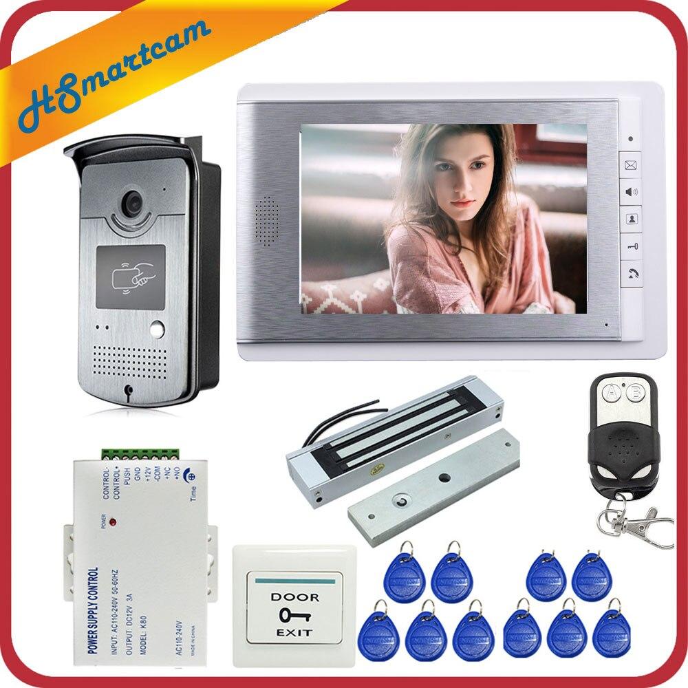 Hom Wired 7 polegada Monitor de Video Da Porta Sistema de Entrada Telefone Intercom 1 + 1 Câmera de Acesso RFID + Magnético Elétrico bloquear FRETE GRÁTIS