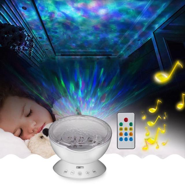 Ocean Wave Projetor Música Luz CONDUZIDA Da Noite Calmante Onda LEVOU Lâmpada de Luz de teto com Falante e controle Remoto para o Berçário quarto