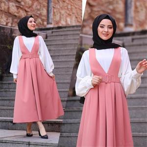 Image 4 - 5 צבעים מלא מעגל התלקח מקסי חצאית נשים המוסלמי קפלים החגורים כתפיות חצאיות האסלאמי תלבושות מקרית Loose אופנה