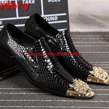 a5cfd1c25b Marca de lujo italiano Zapatos hombres cuero Mocasines oro acero metálico hombres  Zapatos Tacones altos piel