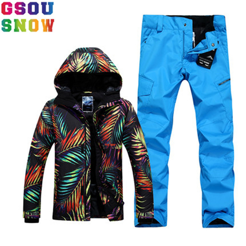 GSOU SNOW Brand Winter Ski Suit Men Ski Jacket Pants Camouflage Snowboard Set Waterproof Jackets Pants Outdoor Skiing Sport Suit 2017 hot sale gsou snow high quality womens skiing coats 10k waterproof snowboard clothes winter snow jackets outdoor costume