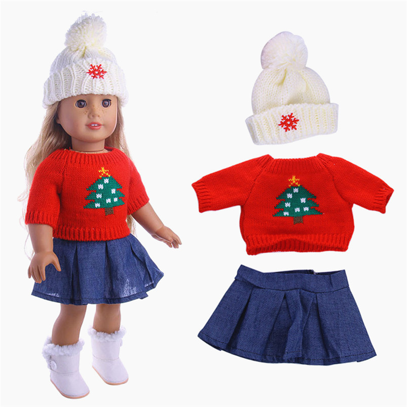American girl doll clothes winter coat dress legging Cute Sweaters Clothes Outfits Skirt For 18 inch Our Generation American fashion 7 sets clothes outfits suitable for 18 american girl doll colorful tops pants with hat dress pajamas christmas gift