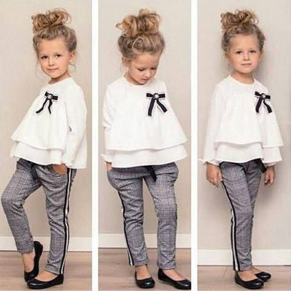Girls Outfits T-Shirt Checked-Pants Ensemble Long-Sleeves Ruffle Toddler Baby Kids Winter