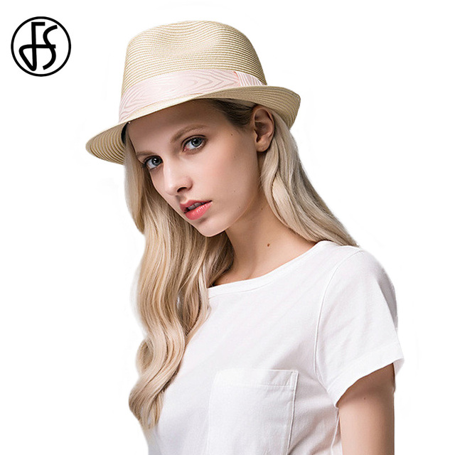 8183abb3a7c FS Fashion Summer Straw Sun Hat Jazz Cap For Women 2017 Short Brim Beach  Sunhat Fedora Panama Hat Chapeu feminino