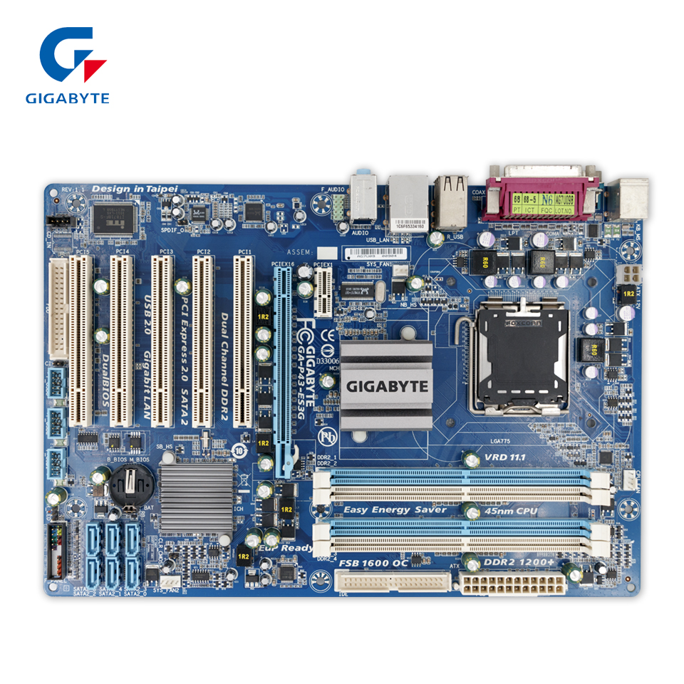 Gigabyte GA-P43-ES3G Original Used Desktop Motherboard P43-ES3G P43 Socket LGA 775 DDR2 ATX On Sale gigabyte ga ep43 ds3 original used desktop motherboard ep43 ds3 p43 lga 775 ddr2 16g sata2 usb2 0 atx