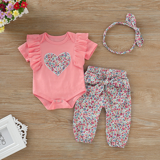 Infant Newborn Kids Clothes Sets Baby Girls Cotton Jumpsuit Ruffled Floral Short Sleeve Top Bow Pants Hair Band Kid Outfit Sets