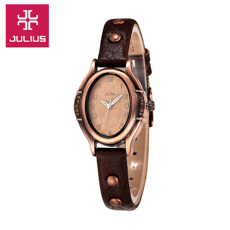 Lady's Woman Wrist Watch Japan Quartz Hours Best Fashion Bracelet Brand Leather Oval Retro Bronze Girl Christmas Gift JA-586