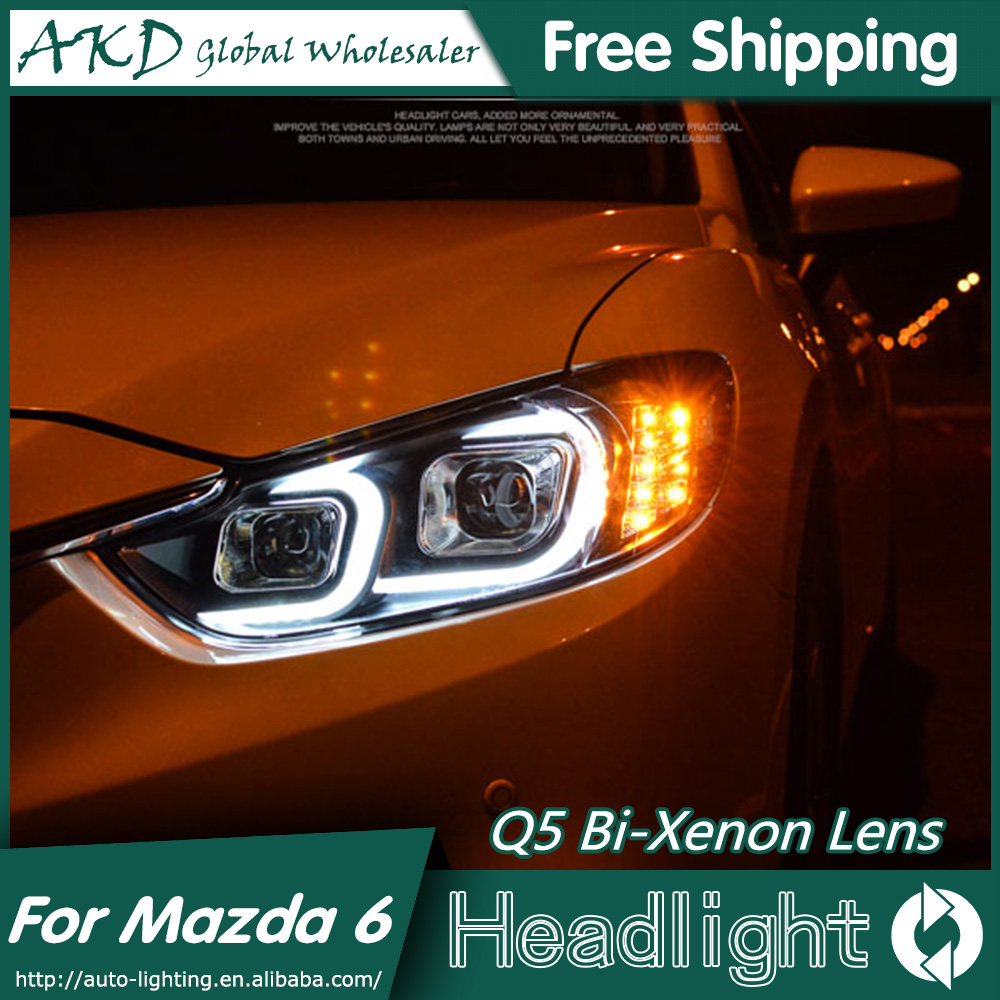 AKD Car Styling for Mazda 6 Atenza LED Headlights 2014-2015 LED Headlight  Eagle Eye DRL Bi Xenon Lens High Low Beam Parking 18pcs canbus car led light bulbs interior package kit for 2005 2011 audi a6 c6 map dome trunk door license plate lamp white