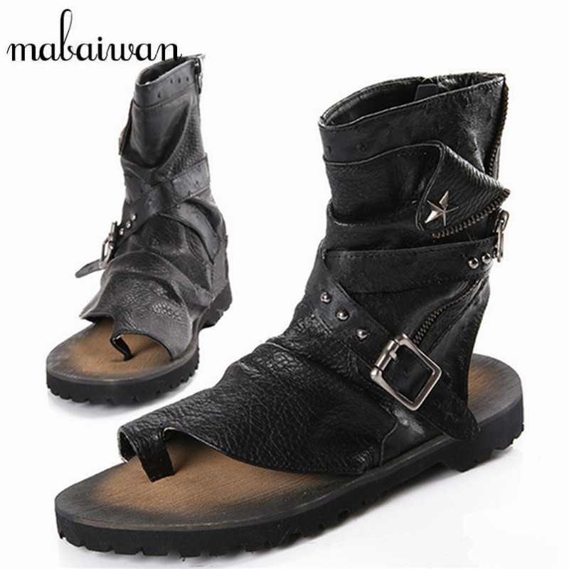 Mabaiwan Fashion Summer Punk Style Men Sandals Gladiator Boots Black Casual Flat Shoes Ankle ...