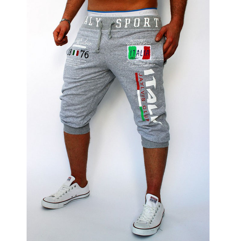 Fashion 2019 Summer wear capri Italy digital printing Sport Running GYM Hip Hop Fitness boys Elastic waist pants male sweatpants in Harem Pants from Men 39 s Clothing