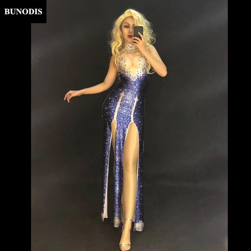 Jupe Diamant Danseur Femmes Stage Sans Violet Chanteur Cristaux Manches Parti Mousseux Vêtu Sexy Zd359 Discothèque Spectacle Porter Longue wXgCxZnq