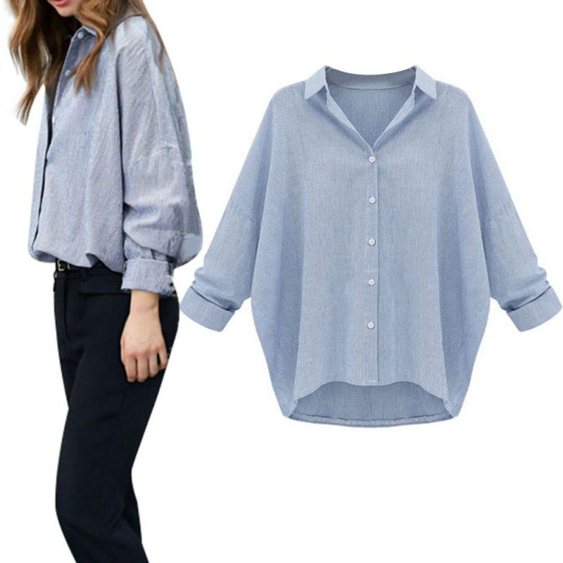 Vogue Womens Loose Blouse Long Sleeve Casual Blouse Shirts Tops Plue Size ...
