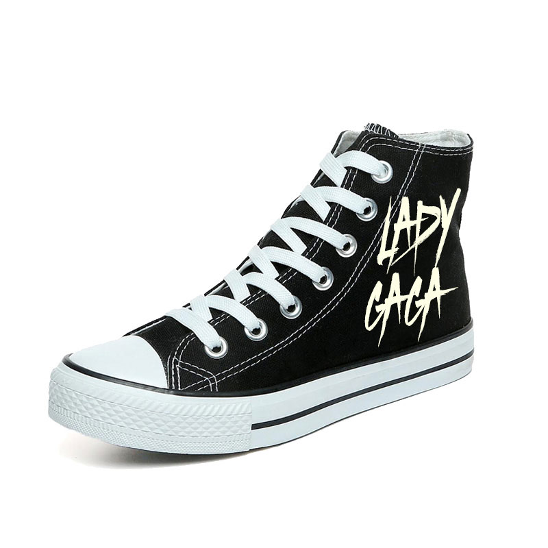 The Lady Gaga Shoes Special Women Casual Shoes Luminous Lace Up Canvas Shoes Black High Top Sneakers Glow in the Dark