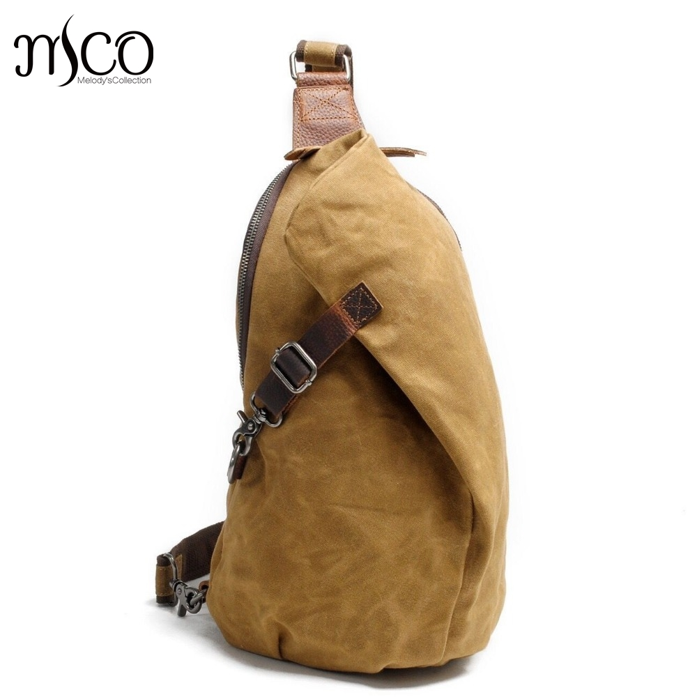 MCO 2018 Vintage Waxed Canvas Mens Crossbody Sling Bag Waterproof Military Travel Chest Bags For Men Basic Single Shoulder BagMCO 2018 Vintage Waxed Canvas Mens Crossbody Sling Bag Waterproof Military Travel Chest Bags For Men Basic Single Shoulder Bag