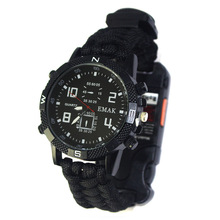 Outdoor Multi-purpose Mountaineering Survival Watch Rechargeable 2km Infrared SOS LED Light Paracord Compass Whistle Reflector