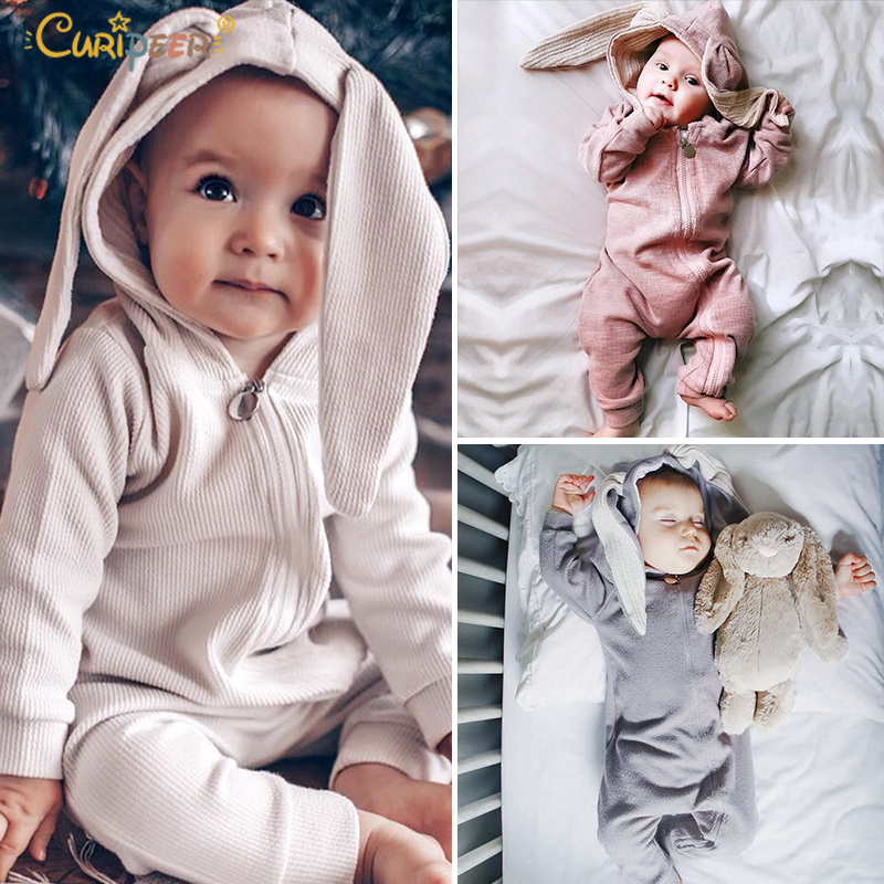 2019 Newborn Infant Kigurumi Baby Girls Boy Clothes Cute 3D Bunny Ear Easter   Romper   Jumpsuit Pajamas Autumn Spring Bebe   Rompers