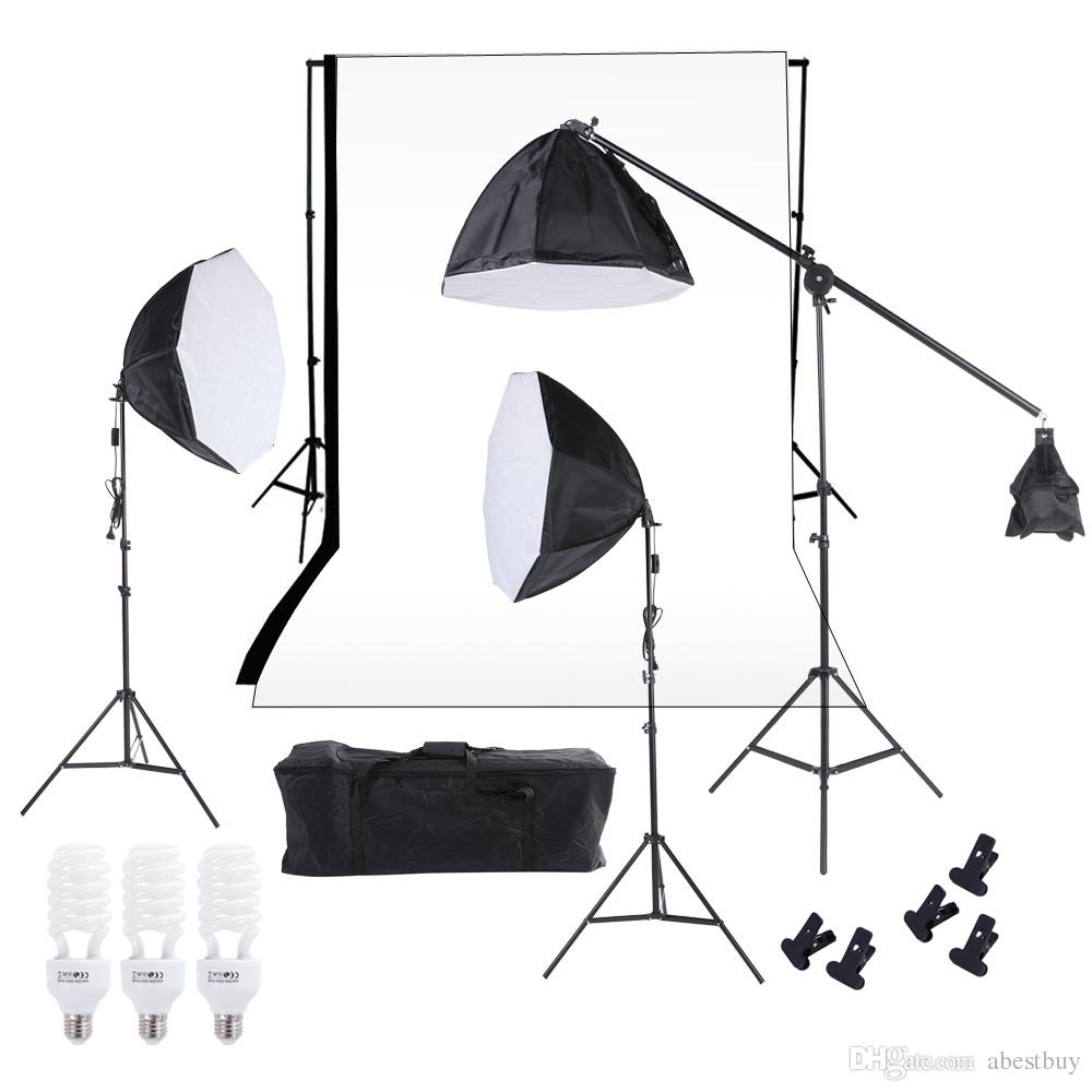 DHL Photography Studio Lighting Softbox Photo Light Backdrop Stand Kit with 60cm Octagon Softbox Cantilever Light Stand Bulbs 2250w photo studio continuous lighting 10x45w bulbs 50 70cm softboxes stands kit free shipping via dhl or ems