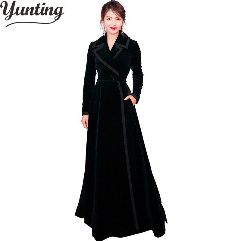Le Pardessus Tranchée Manteaux Tunique Longue D'hiver Lady Femmes Bas Noir Tournent Vers Vintage Bouton Black Manteau B0T6Pqx