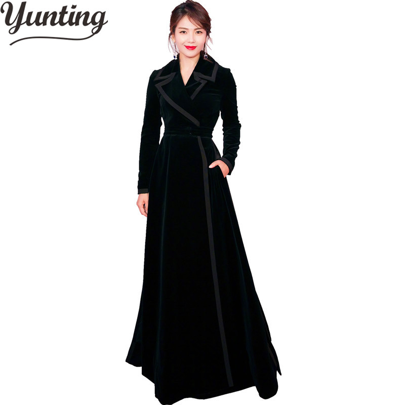 Women Winter Long   Trench   Coat Black Turn Down Collar Button Vintage Overcoat Tunic Lady Outwear Coats