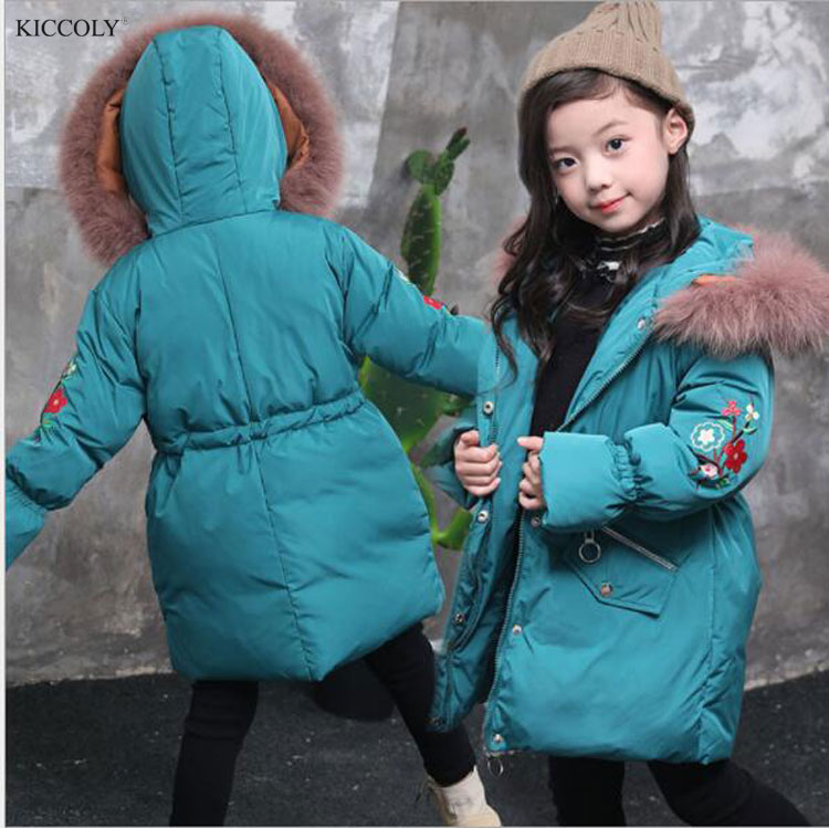 KICCOLY New 2018 Fashion Children Winter Down Jacket Girl Winter Embroidery Coat Kids Warm Thick Fur Collar Hooded Parka 3-8T women winter coat jacket 2017 hooded fur collar plus size warm down cotton coat thicke solid color cotton outerwear parka wa892