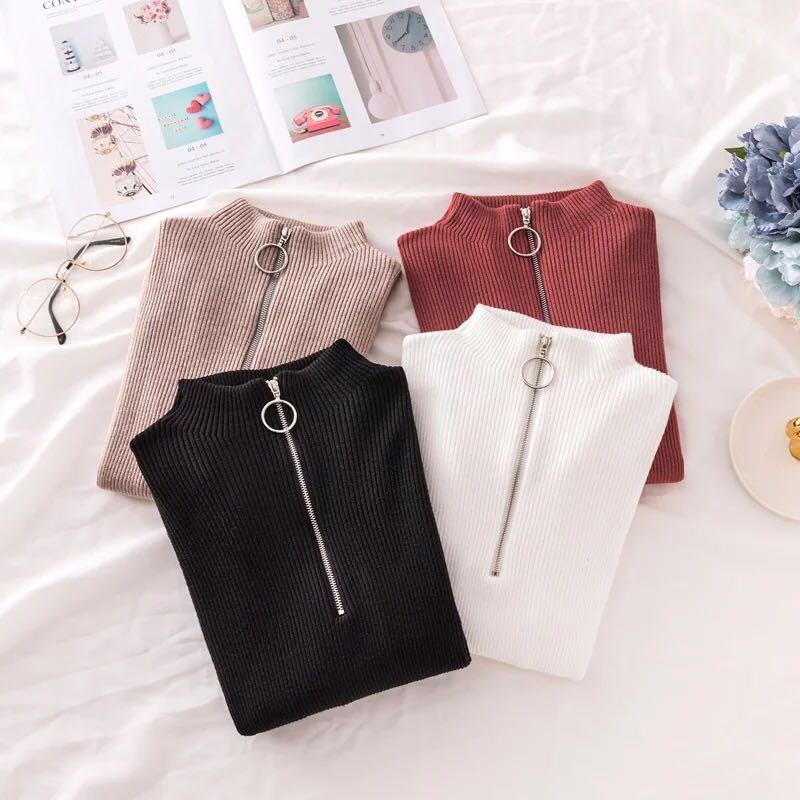 Zipper frauen Rollkragen Pullover Frauen Pullover Frühling 2020 Koreanische Mode Herbst Weichen Gestrickte Pullover Hohe Elastische Solid Tops