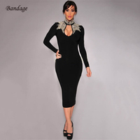 Bandage Dress Party 2018 New Arrival Long Sleeve Beading Hollow Out Turtleneck Vestido High Quality Midi Women Bodycon Dresses