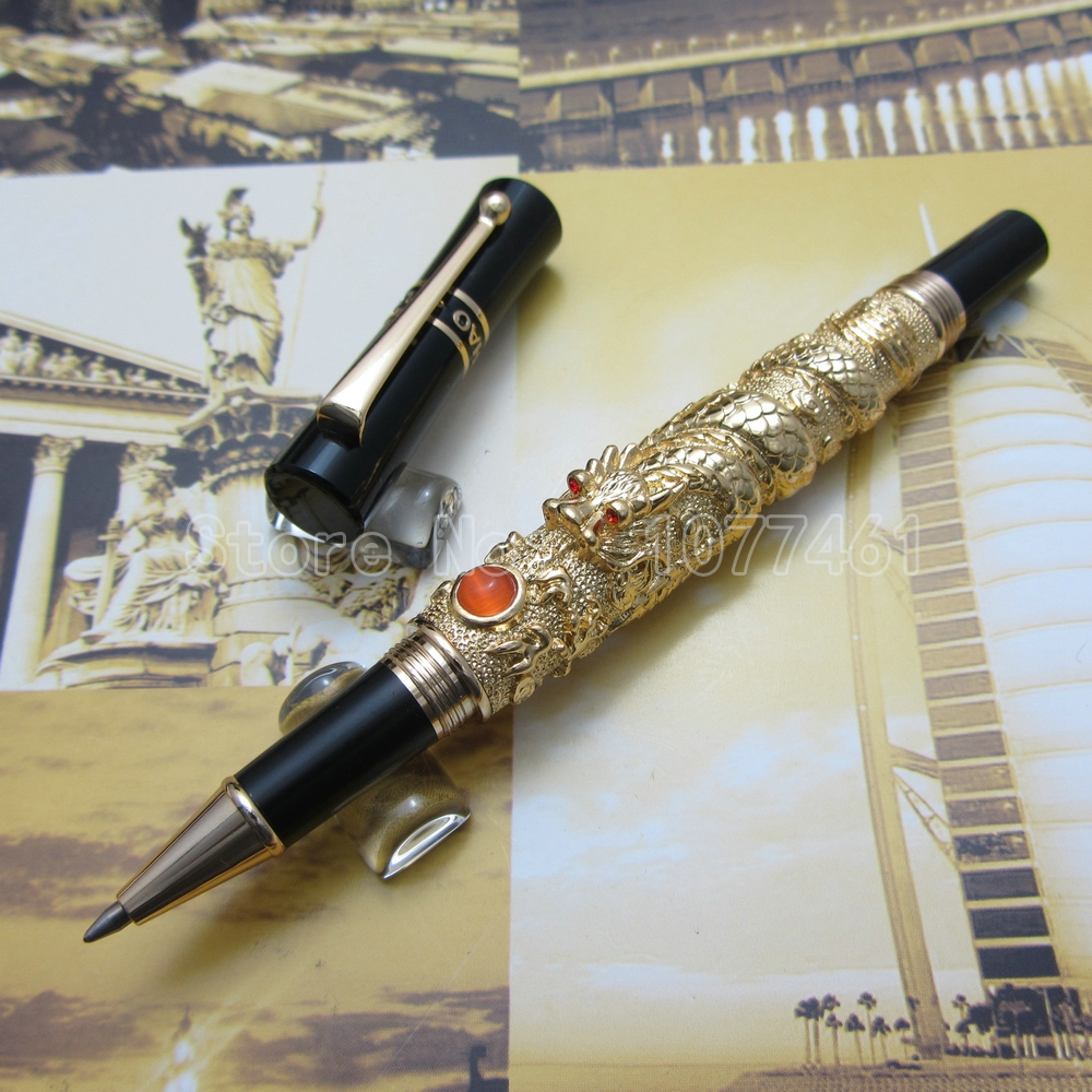 Jinhao Chinese Dragon thomsonae Fountain Pen with Gift Box Gold White Antique Silver Optional JT32R 9901 fine financia pen student pen art fountain pen 0 38 0 5 0 8mm optional gift box set