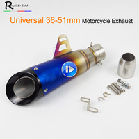 Motorcycle 36 51MM Exhaust Pipe Escape Modified Laser Muffler Moto Exhaust For HONDA CBR500 NC700 color half blue