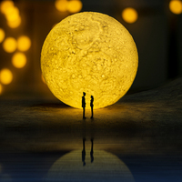 Rechargeable 13cm 3D Print Moon Lamp Touch Switch Bedroom Bookcase Night Light Home Decor Creative Gift For Girl Friend Children