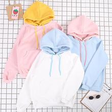 C20-New cute hoodies women Korean version of the wave students loose Japanese Harajuku hit color hats cotton autumn&winter shirt