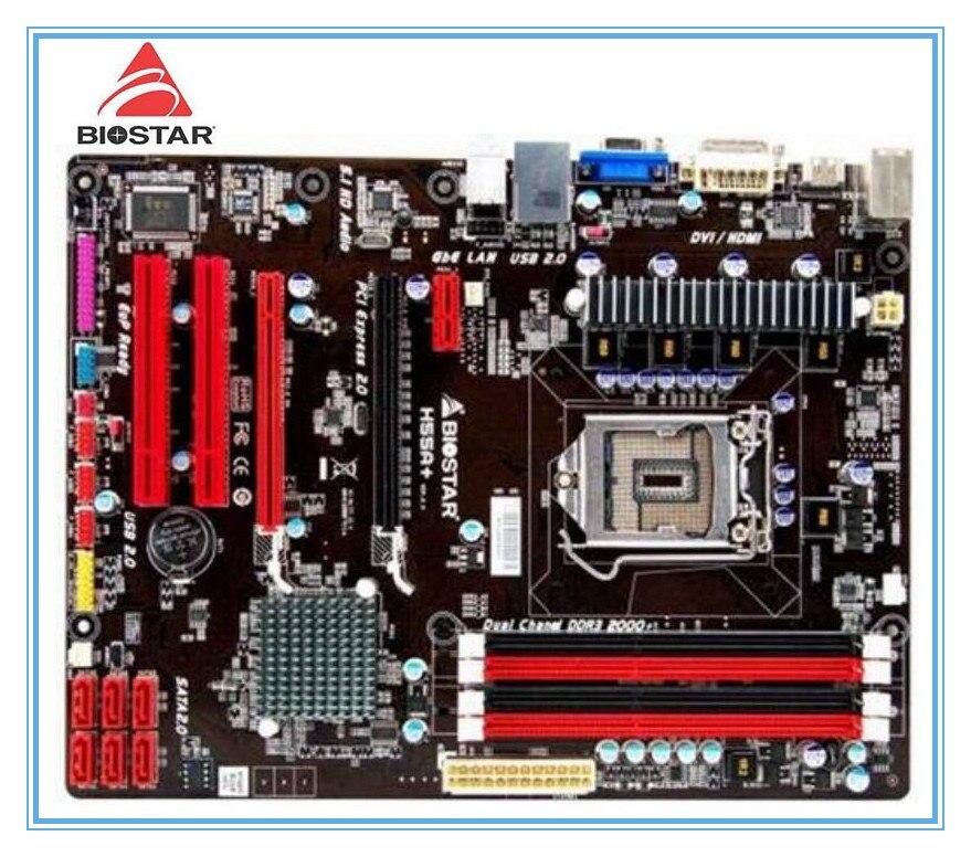 Biostar Оригинал материнская плата h55a + LGA 1156 DDR3 Оперативная память 16 г Панели H55 рабочего Материнская плата бесплатная доставка