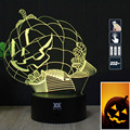HY Halloween Pumpkin Head 3D Remote LED Night Light Touch Table Desk Lamp 7 Color Change USB LED Charger Gift Multifunction Card