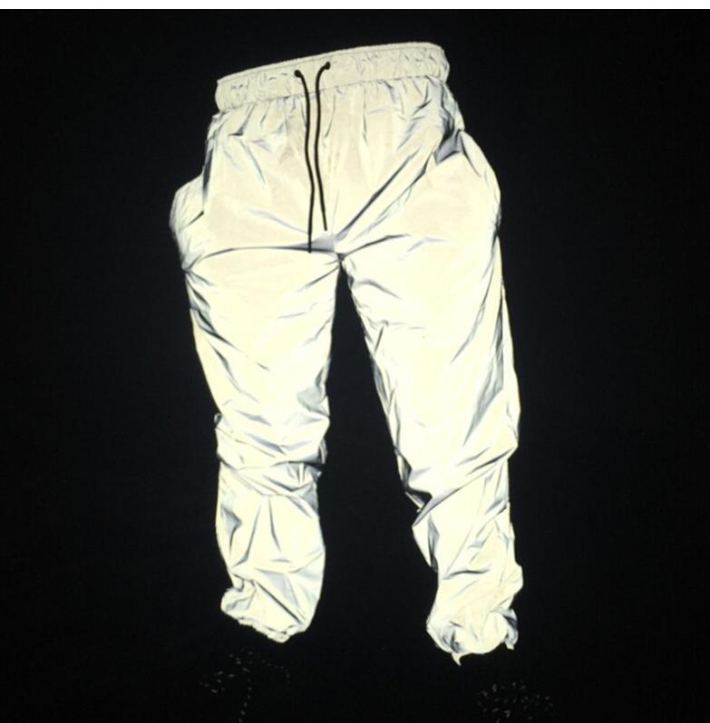 Reflective hip hop pants men joggers sweatpants men's streetwear night light shiny blink long pants for couples(China)