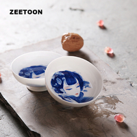 Jingdezhen Blue and White Porcelain Tea Cup Kung Fu Tea Cup Chinese Hand painted Four Beautiful Women Teacup Master Tea Cup Bowl