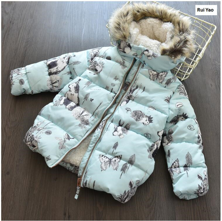Ymila85 2017 New Winter Baby Girl Coat Print Rabbit Bunny Fleece Worm Hooded Print Girl Coat Girl Outerwear Girls Clothes Lolita rovertime rovertime rtm 85