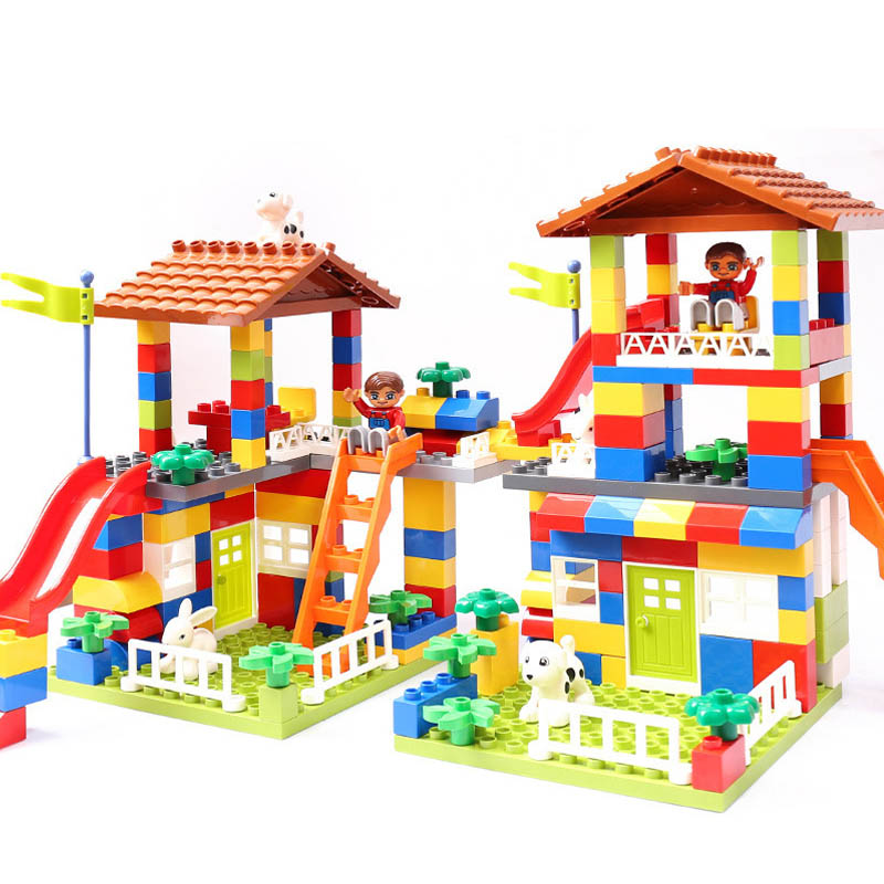 GOROCK 178pcs 89pcs DIY City House Roof Big Particle Building Blocks Castle Educational Toy For Children Duplo Bricks Baby Gifts цена