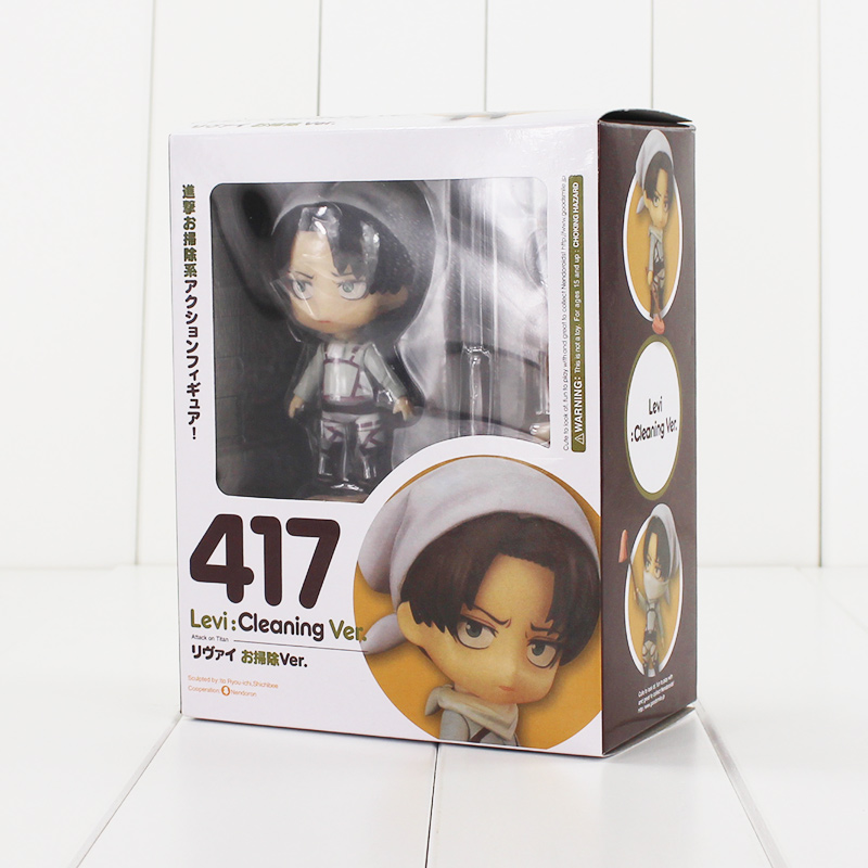 10cm Nendoroid Attack on Titan Figure Toy Levi Ackerman 417 Cleaning Ver. Model Doll for Children attack on titan anime 17 cm mikasa ackerman battle version pvc anime figure collection doll model toy kids toys pm scene tw18
